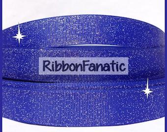 """5 yds 7/8""""  Royal Blue Sparkle Solid Color Glitter Grosgrain Ribbon"""