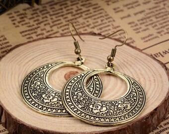 BOHO TRIBAL EARRINGS gipsy bohemian brass ethnic