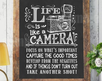 Life Is Like A Camera Chalkboard Print Poster Frame Chalkboard Chalk Board  Wall Art Kitchen Motivational 8x10 1056