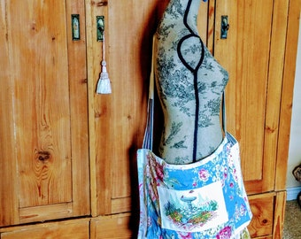 Extra large crossbody, reimagined, vintage textiles