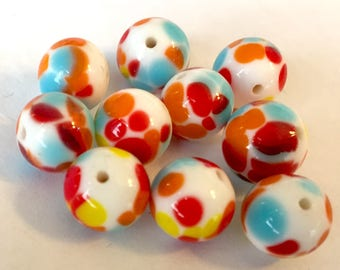 Vintage beads  (8) Japanese glass  lampwork  rounds multicolor spots rainbow red yellow blue white opaque 10mm  (8)