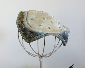 Vintage 1950s Hat Eva Mae Modes / Blue Velvet With Rhinestones / Women's Vintage Hat / Fascinator Hat / Millinery / Curvette Juliette Cap