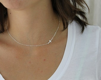 Sideways Cross Necklace, Gold Cross Necklace, Sideways Necklace, Dainty Cross Necklace, Cross Necklace Women, Layering Sterling Silver