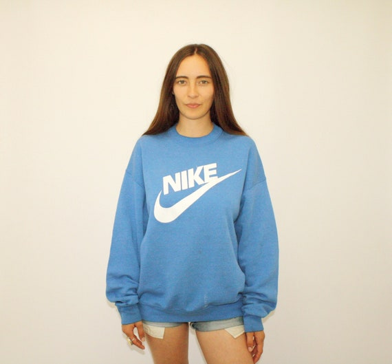 Nike Swoosh Sweatshirt // Vintage 80s Sports Dress Boho Shirt Hipster Athletic Blue Oversize Women's Men's Shirt Tee T Shirt 70s // O/S by Etsy