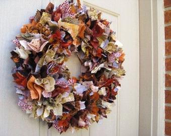 Fall Rag Wreath, Fall Wreath, Thanksgiving Decor, Thanksgiving Wreaths, Autumn Door Wreath, Fabric Wreath, Wreath for Fall, Farmhouse Wreath