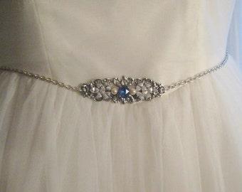 Sapphire blue Bridal belt blue Rhinestone belt silver Bridal belt Wedding belt Bridal accessories Dress belt Silver blue belt Bridal sash