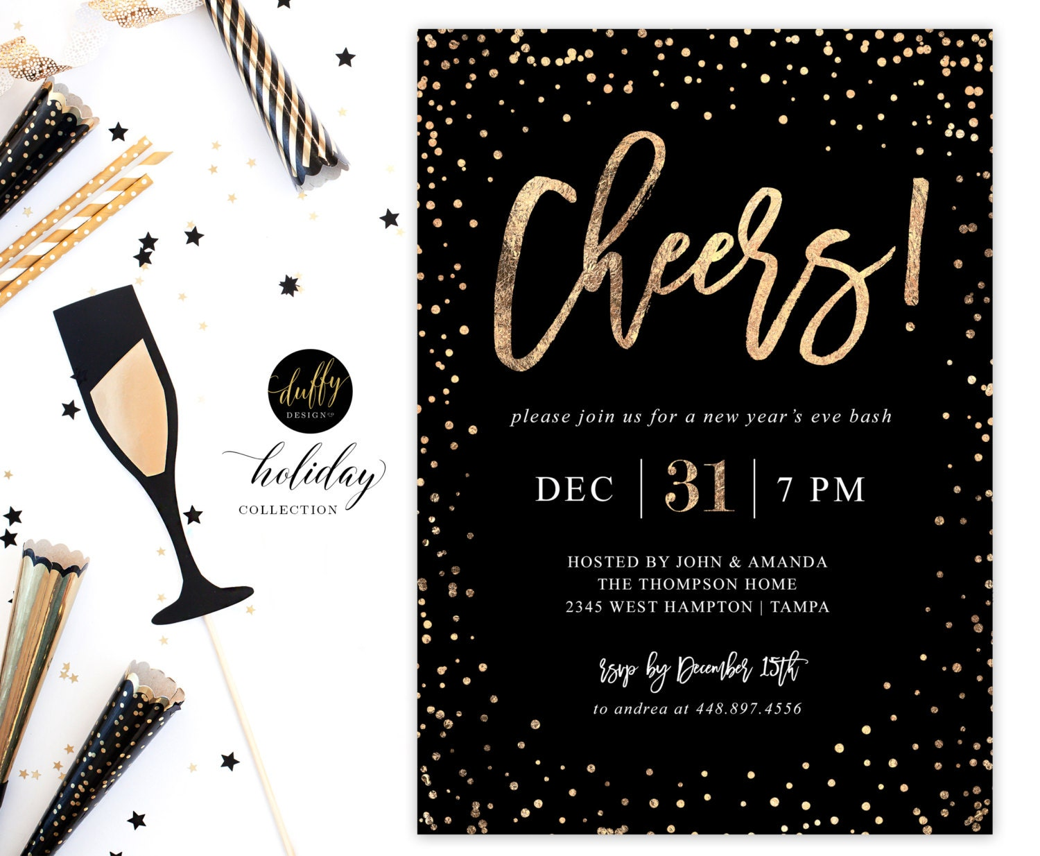New Year\'s Eve Party Invitation New Years Eve Invite New