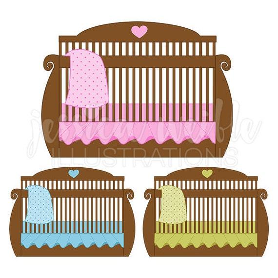 brown baby crib cute digital clipart baby bed clip art baby rh etsy com baby jesus in crib clipart baby girl crib clipart