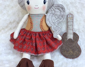 Romina cloth doll with red dress gipsy Chaplet of flowers boots and guitar cloth doll
