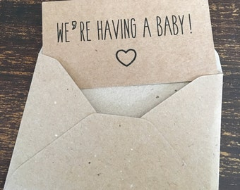 Pregnancy announcement cards, heart, pack of 10, recycled brown kraft card, vintage rustic style