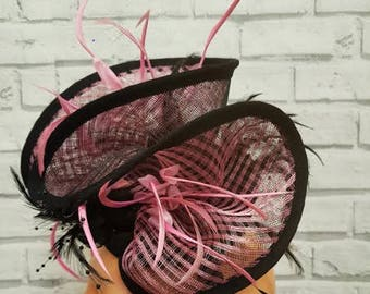 Pink And Black Crinoline Fascinator