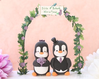 Unique Wedding cake topper elegant Penguins with floral arch - bride groom figurines personalized wedding gift anniversary names monogram