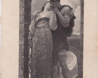 Victorian Antique engraving PRINT WEDDED Man and Woman in Embrace Rapture in LOVE