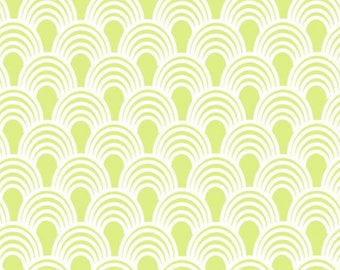 By The HALF Yard - Bridgette Lane by Valori Wells for Free Spirit, Pattern #PWVW064-LIME Lime Waves, Green Scallops on White