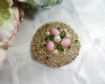 Sarah Coventry Fashion Splendor Green and Pink Stone and Faux Pearl Brooch on a Textured Gold Tone Setting - Fashion Splendor Brooch