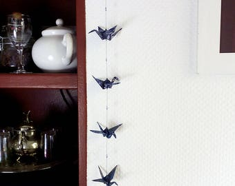 Origami garland 'Ayame' - Handmade dark blue Washi paper cranes and Swarovski crystals - Home decor, room decoration, wedding, mobile