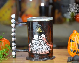 Beer mug with handle sulpt small skull,tankard,mug, stein,skull,wrought,iron,beer,aluminium,eyes,gift,red,halloween, forged