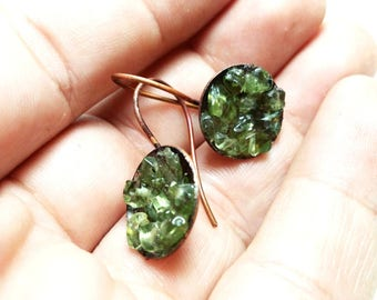 Green Copper Peridot Earrings Soldered Copper Earrings with Peridot Gemstones Green Earrings with Peridot Copper Gemstone Earrings
