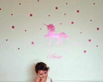 Unicorn Wall Decal, Personalised Unicorn Wall Sticker, Unicorn Wall Decal, unicorn wall art, girls wall sticker, nursery unicorn decal