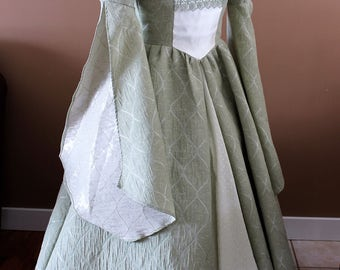 """Bust 42"""" Mint and White Tudor Dress Ever After Renaissance Medieval Gown Game of Thrones Theme Wedding"""