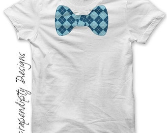 Bow Tie Iron on Transfer - Boys Iron on Shirt PDF / Ring Bearer Wedding Shirt / Baby Blue Bowtie Shirt / Toddler Chevron Bow Tie Shirt IT193