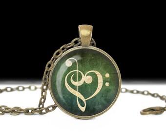 Music Jewelry Pendant Wearable Art Music Necklace Music Pendant Charm Music Keychain Heart Music