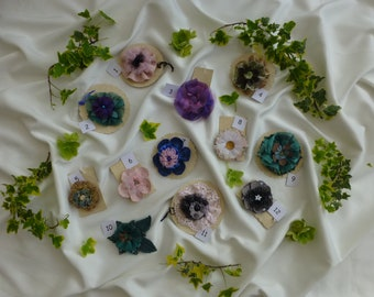 Unique Flower brooches and Corsages - For coats, sweaters or bags. Individual,  Handmade, for Weddings, Christenings and  Baby Naming.