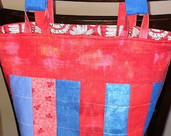Adult Walker Cart Bag Fully lined Red and Blue