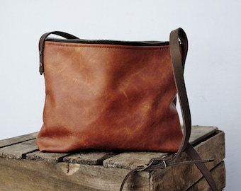 Cognac leather crossbody bag, real leather, cross body, shoulder bag, leather purse, leather hobo