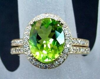 AAA Natural Peridot   10x8mm  2.60 Carats   14K Yellow gold diamond bridal set(.48ct) Ring 0736 B108