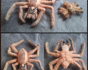 Felted Wool Wolf Spider Pair - Needle Felted Arachnids
