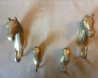 Vintage Wall hangers in Brass 4 Horses
