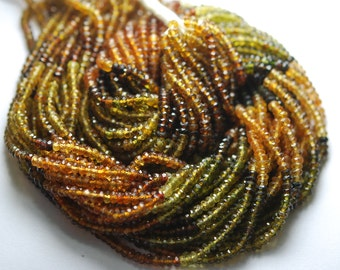 13 Inch-Super-FINEST-Petro Multi Tourmaline Faceted Rondells,3.5mm Super Finest Quality