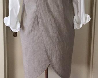 Washed Natural Linen, Curved Cross Back, Apron, Pinafore, Smock, Layering Wardrobe Piece, Small/Medium