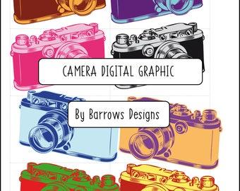 Old School Camera Digital Graphic