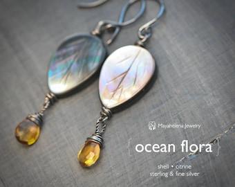 Ocean Flora - Shell and Citrine Dangle Sterling Silver Earrings