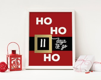 Ho Ho Ho Days to Go! - Advent Calendar Digital Print - Instant Download