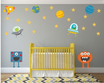 Outer Space Wall Decals, Alien Wall Decals, Wall Decals Nursery, Baby Wall Decal, Kids Wall Decals, Nursery Wall Decal, REMOVABLE  REUSABLE