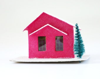 Vintage Cardboard House, Red Putz House, Red Mica Glitter House, Vintage Christmas Decoration, 50s  Mini Cardboard Light Up House