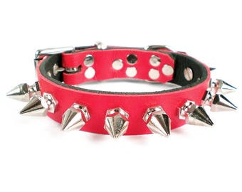 "3/4"" Soft Fire Red, Thick Leather Spiked Dog Collar with Chunky Hexagonal Spikes"