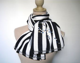 Scarf cotton and silk Jersey with large stripes and fringes for her