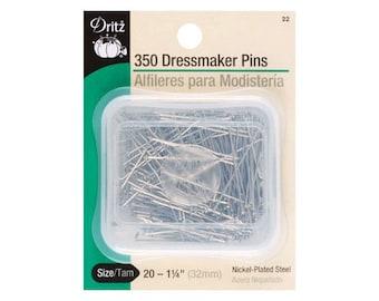 Dritz Size 20 Dressmaker Pins, 350 pcs, 1.25in (32mm), Nickel Plated Steel