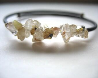 Rutilated Quartz Bracelet, Rutilated Quartz Gemstone Cuff  Bracelet Jewelry, Stone Bracelet, Handmade Jewelry, luminous creation