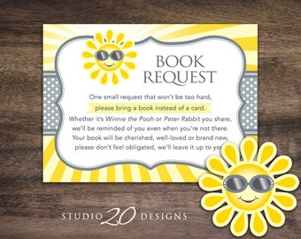 Instant Download You Are My Sunshine Book Request, Grey Sun Book in Lieu of Card, Gender Neutral Sun Baby Shower Book Instead of Card 72B