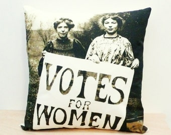 Votes for Women Pillow Cover. Decorative pillow. Organic Cotton pillow. Insert not included. Feminist
