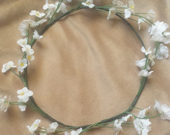White Flower Crown Headband Boho Bridal Floral Halo Flower Girl Hair Wreath Adult Kid Wedding Floral Halo