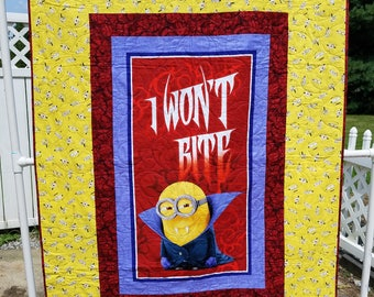 Kids/Adult Minion Vampire Bite Me Quilt Lap / Throw Size