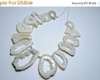 25% OFF Summer Sale 14 Pcs Natural White Druzy Stalactite Slice Beads White Slice Druzy Necklace Size 18X12 - 42X14 Mm