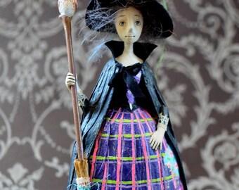 Witch Art Doll,  OOAK miniature doll, Tiny hanging doll,  Miniature Art Doll, Hanging art doll, Halloween Art Doll, Mini gift