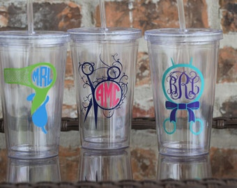Hair Stylist Beautician Monogram Tumbler